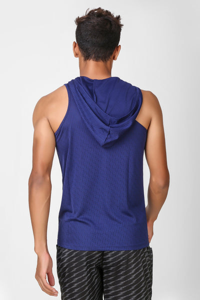 Active Hooded Sleeveless Navy T-shirt