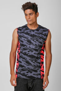 Camo Print Stretchable Sleeveless Tshirt