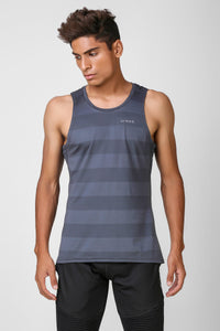 Active Striped Stretchable Sleeveless Tshirt