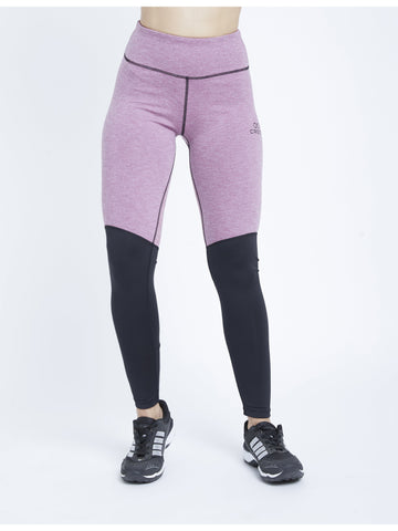 Color Block Mauve Black F/L Leggings