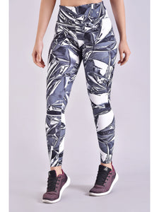 Grey Abstract Printed F/L Leggings
