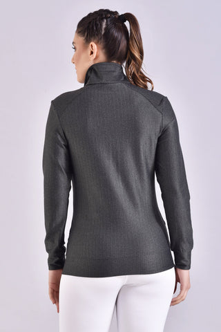 Black Herringbone Women's Jacket