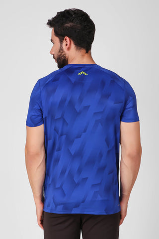 Creez Hustle Printed Stretchable Sports and Gym Blue Men's Tshirt Back