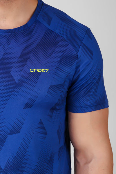 Creez Hustle Printed Stretchable Sports and Gym Blue Men's Tshirt Close 01
