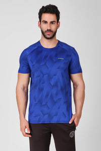 Creez Hustle Printed Stretchable Sports and Gym Blue Men's Tshirt Front