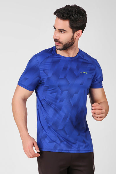 Creez Hustle Printed Stretchable Sports and Gym Blue Men's Tshirt Front 02
