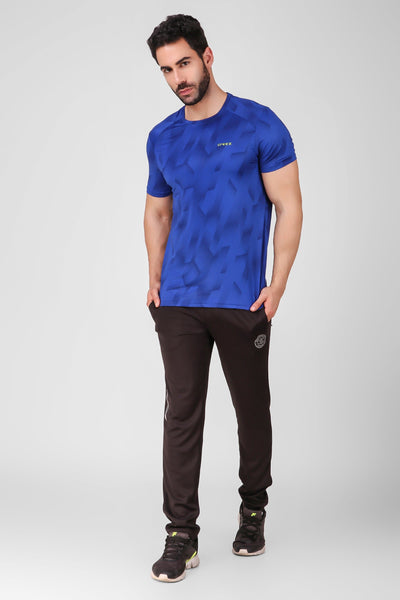 Creez Hustle Printed Stretchable Sports and Gym Blue Men's Tshirt Full 02