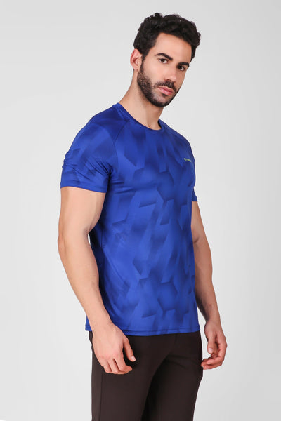 Creez Hustle Printed Stretchable Sports and Gym Blue Men's Tshirt Side 02