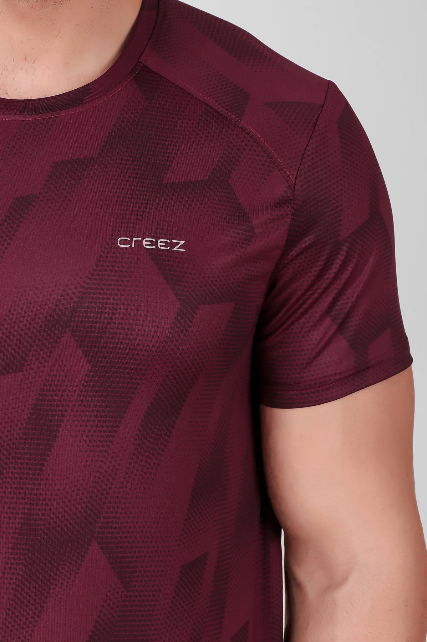 Creez Hustle Printed Stretchable Sports and Gym Dark Olive Men's Tshirt Close 01