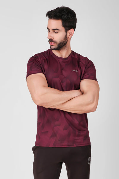 Creez Hustle Printed Stretchable Sports and Gym Dark Olive Men's Tshirt Front 02