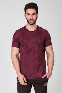 Creez Hustle Printed Stretchable Sports and Gym Burgundy Men's Tshirt Front 01