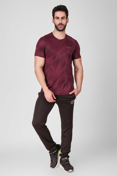 Creez Hustle Printed Stretchable Sports and Gym Dark Olive Men's Tshirt Full 02