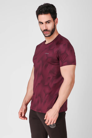 Creez Hustle Printed Stretchable Sports and Gym Dark Olive Men's Tshirt Side 01