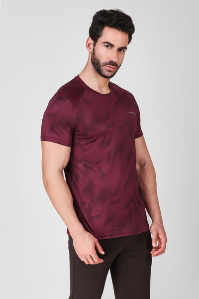 Creez Hustle Printed Stretchable Sports and Gym Dark Olive Men's Tshirt Side 02