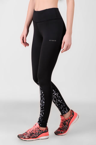 Print Block Black Leggings-01