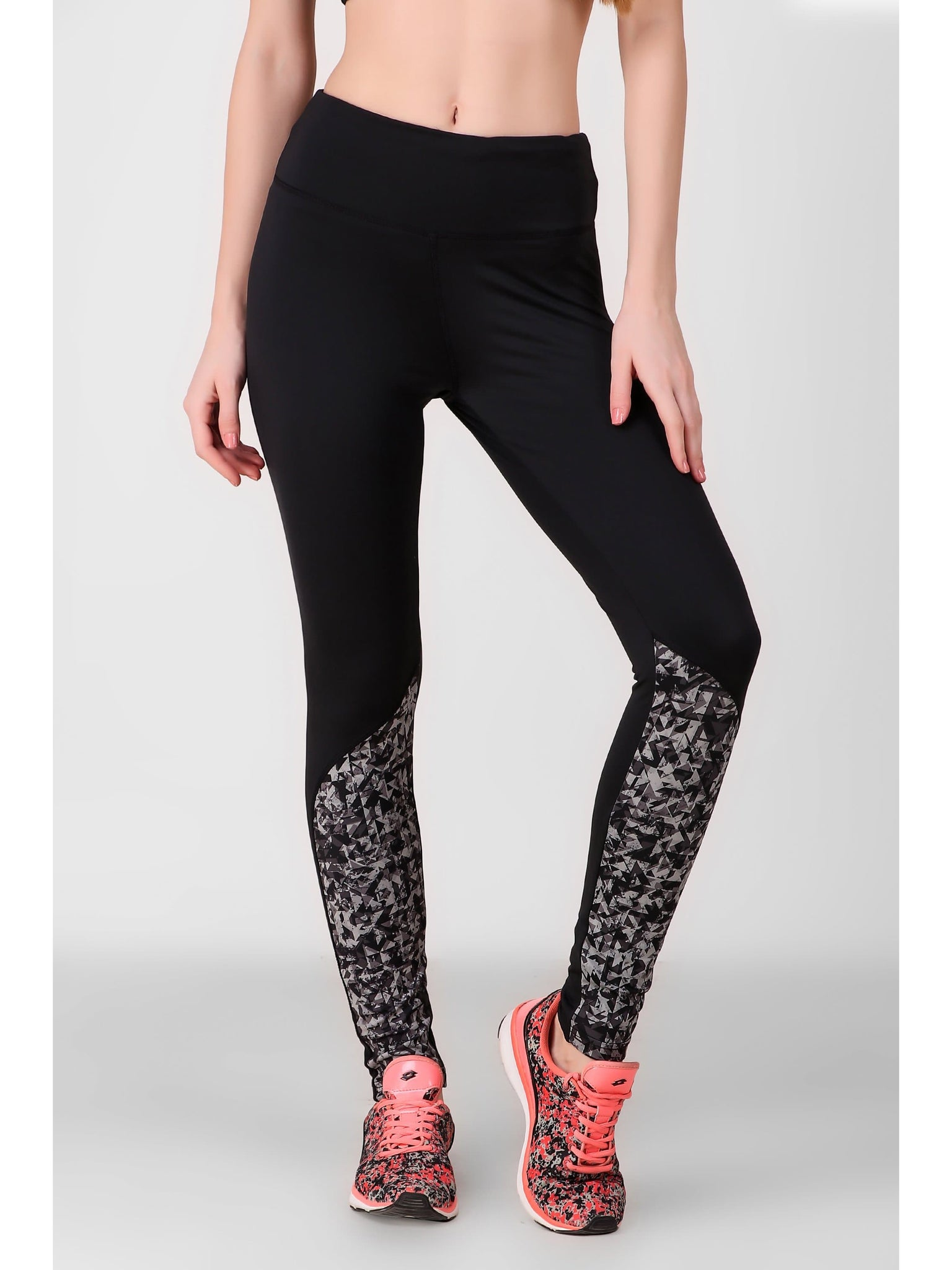 Print Block Black Leggings-02