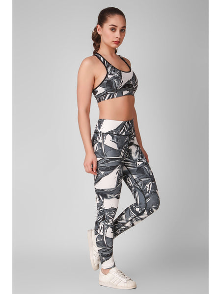 Grey Abstract Printed Sports Bra