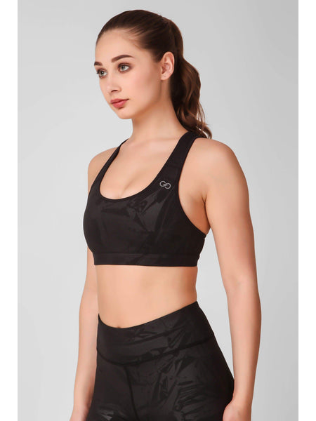 Black Abstract Embossed Sports Bra
