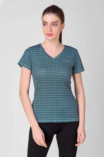 Cyan Printed Stretchable Top