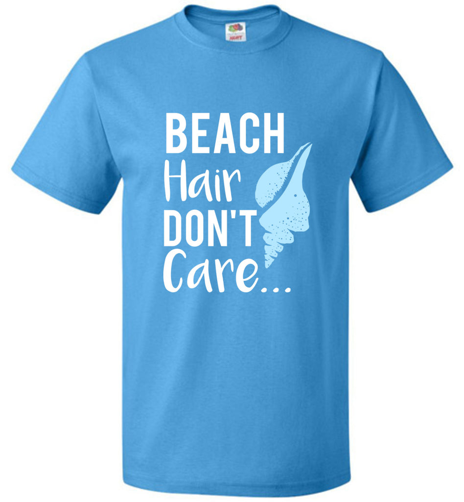 Funny Shirt Beach Hair Don't Care Beach and Pool T-Shirt For Women, Men and Kids
