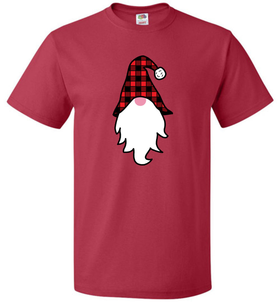 Christmas Gnome Plaid Hat Funny T-Shirt for Men Women and Kids