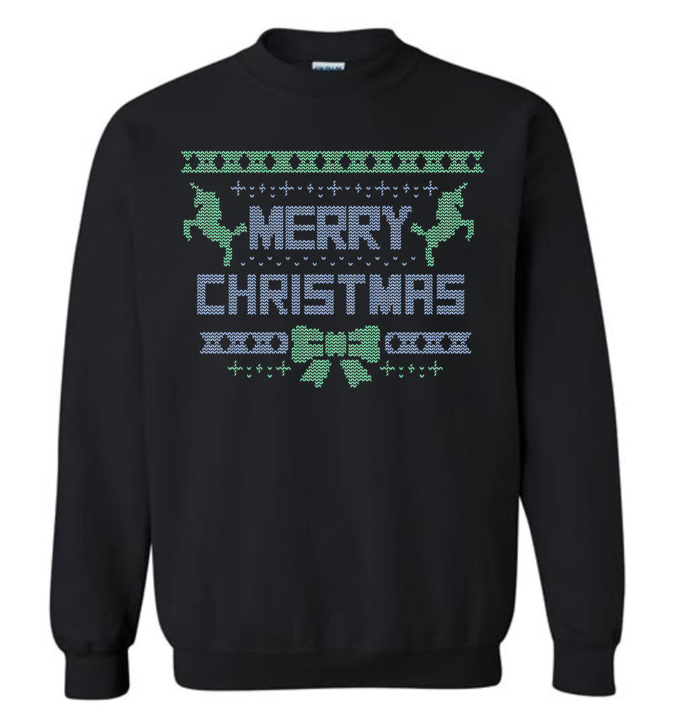 Merry Christmas Shirt Unicorns Sweater Knit Pattern Sweatshirt for Men and Women