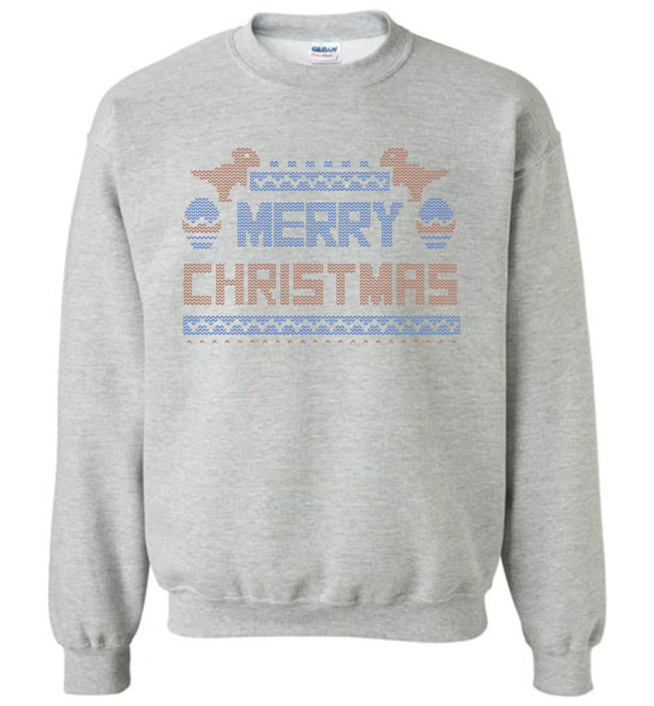 Merry Christmas with Dinosaurs Ugly Sweater Stitch Style Long Sleeve Sweatshirt