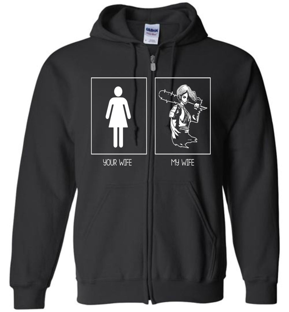 Mens Funny T-Shirt Your Wife / My Wife Super Woman Zip Hoodie for Men