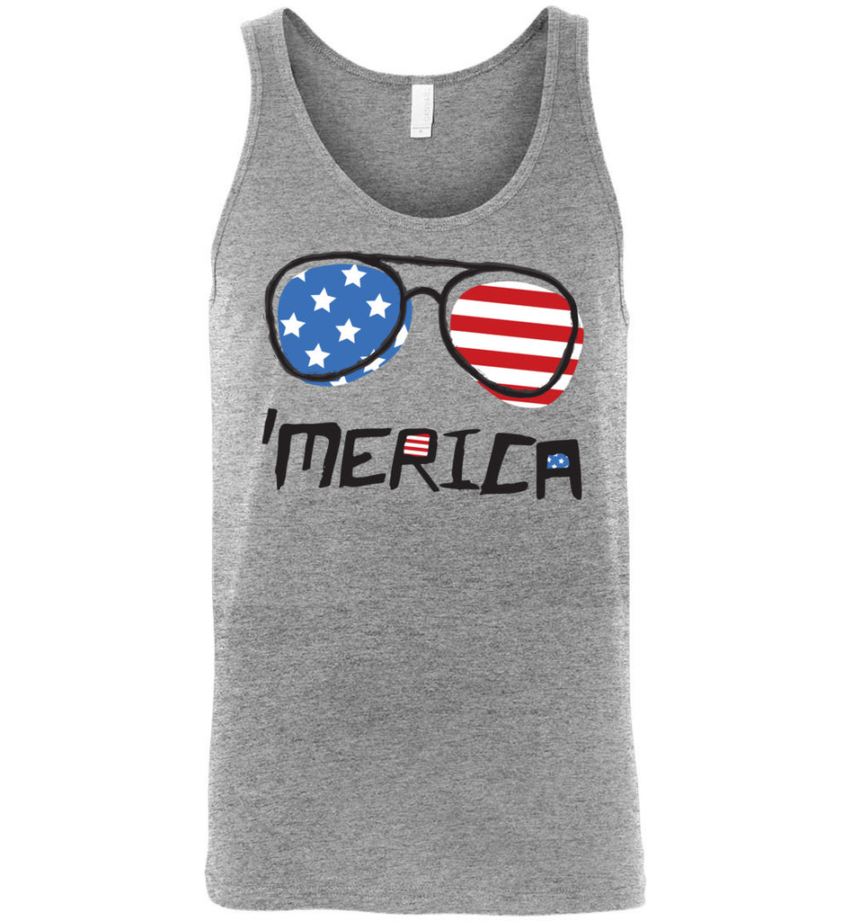 4th of July Tank Top 'Merica Sunglasses