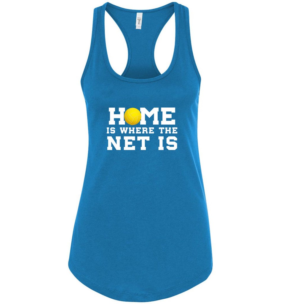 Funny Volleyball Shirt Home Is Where The Net Is Sports Racerback Tank Top