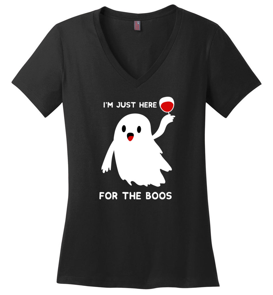 Funny Halloween Shirt I'm Just Here For The Boos V-Neck T-Shirt for Women
