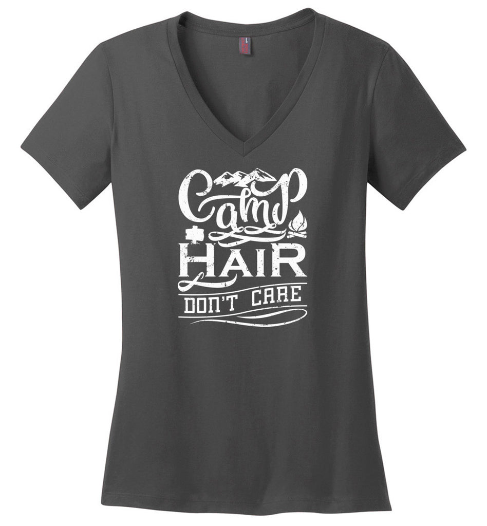 Camp Hair Don't Care Shirt for Happy Outdoorsy Camper V-Neck T-Shirt