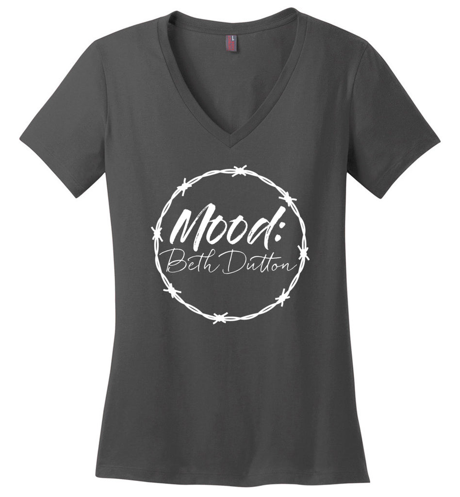 Mood Beth Dutton Ladies Fitted V-Neck T-Shirt - Charcoal