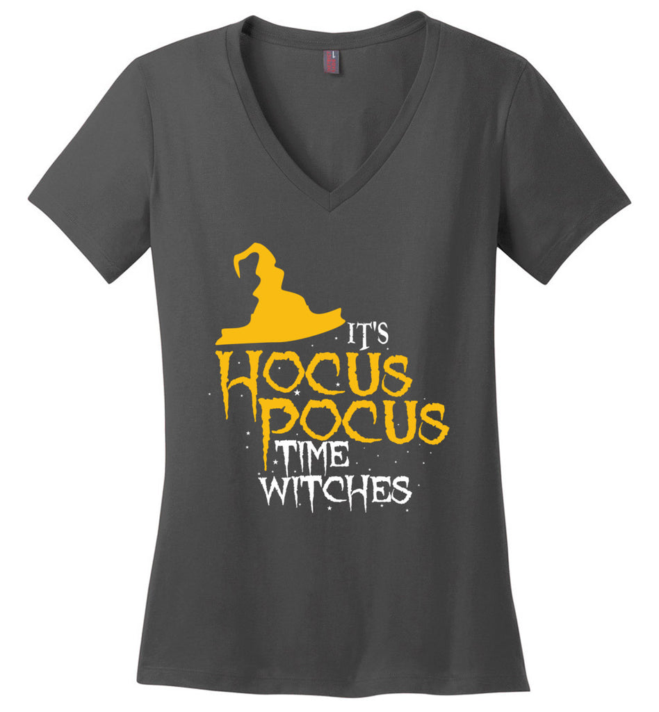 Funny Halloween Shirt It's Hocus Pocus Time Witches! V-Neck T-Shirt For Women