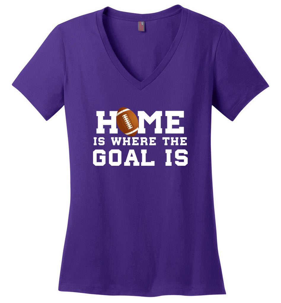 Funny Football Shirt Home Is Where The Goal Is Sports V-Neck T-Shirt