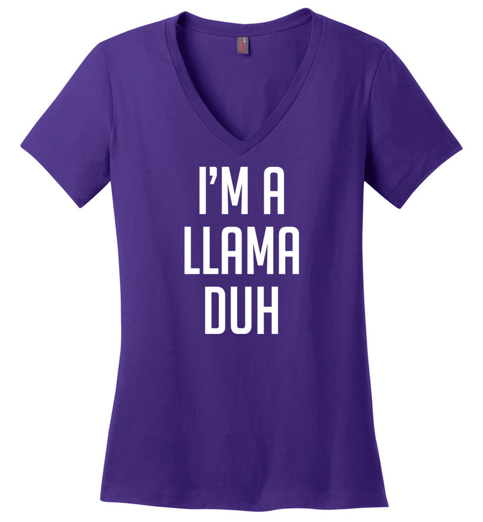 Halloween I'm A Llama Duh Shirt Easy Costume Ladies V-neck T-shirt
