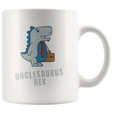 Unclesaurus Rex Mug With Blue Dinosaur Off To Work With Suitcase and Tie