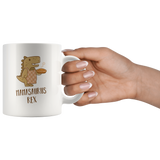 Mamasaurus Rex Mug With Baker Mother Dinosaur Wearing Apron Holding Pie