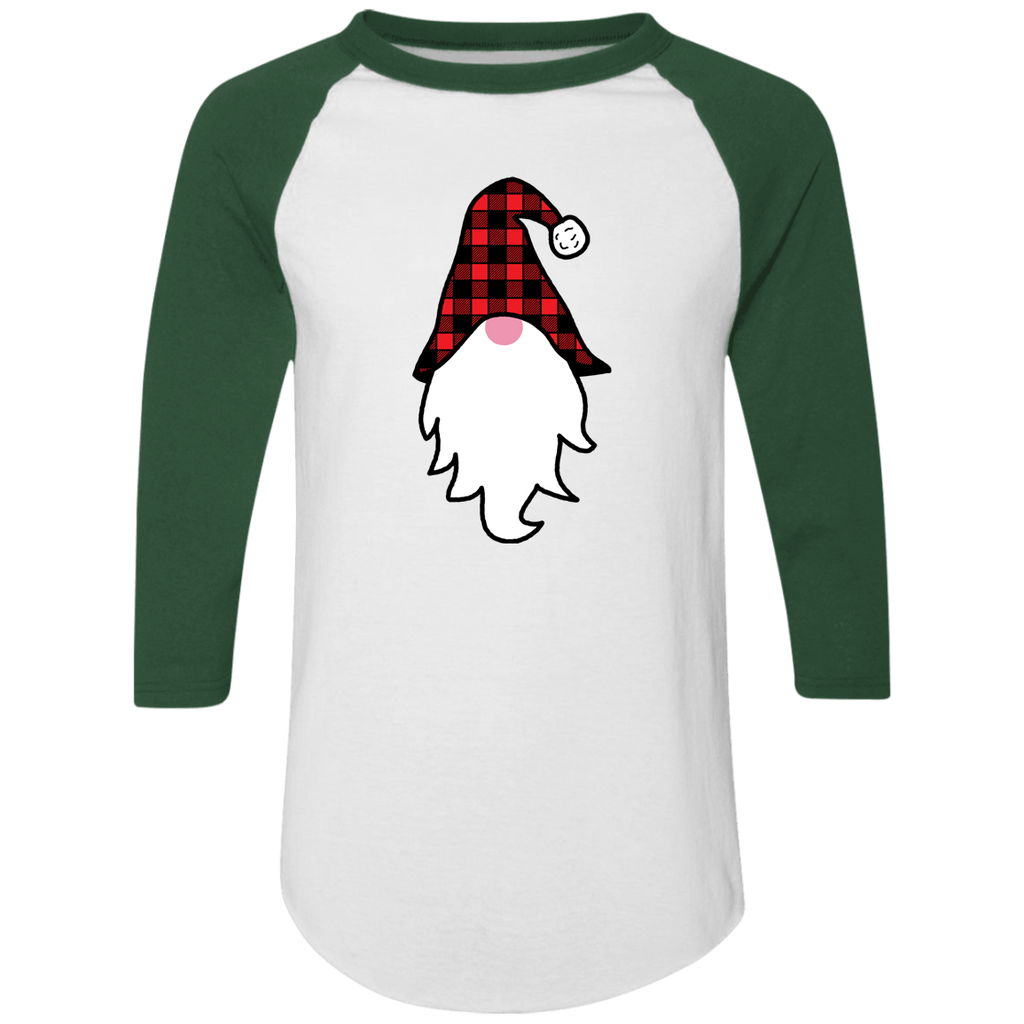 Christmas Gnome Plaid Hat Funny Raglan 3/4 Jersey