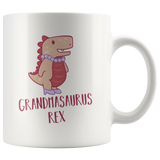 Grandmasaurus Rex Mug With Fancy Grandma Dinosaur Wearing Pearl Necklace