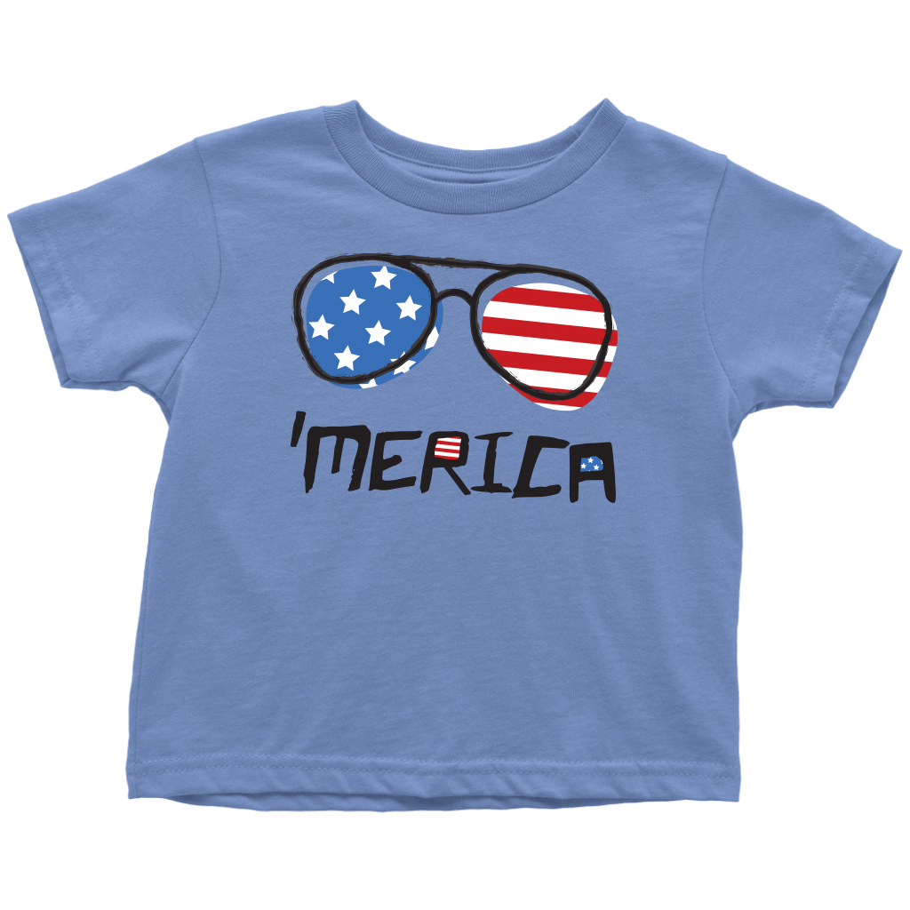 4th of July Toddler T-Shirt 'Merica Sunglasses