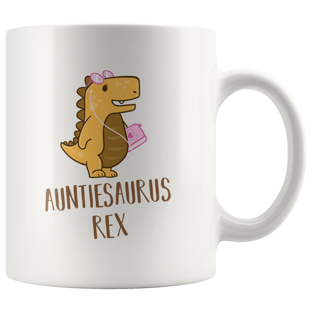 Auntiesaurus Rex Mug With Music Loving Dinosaur Wearing iPod