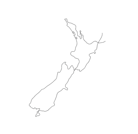 stitched map of New Zealand