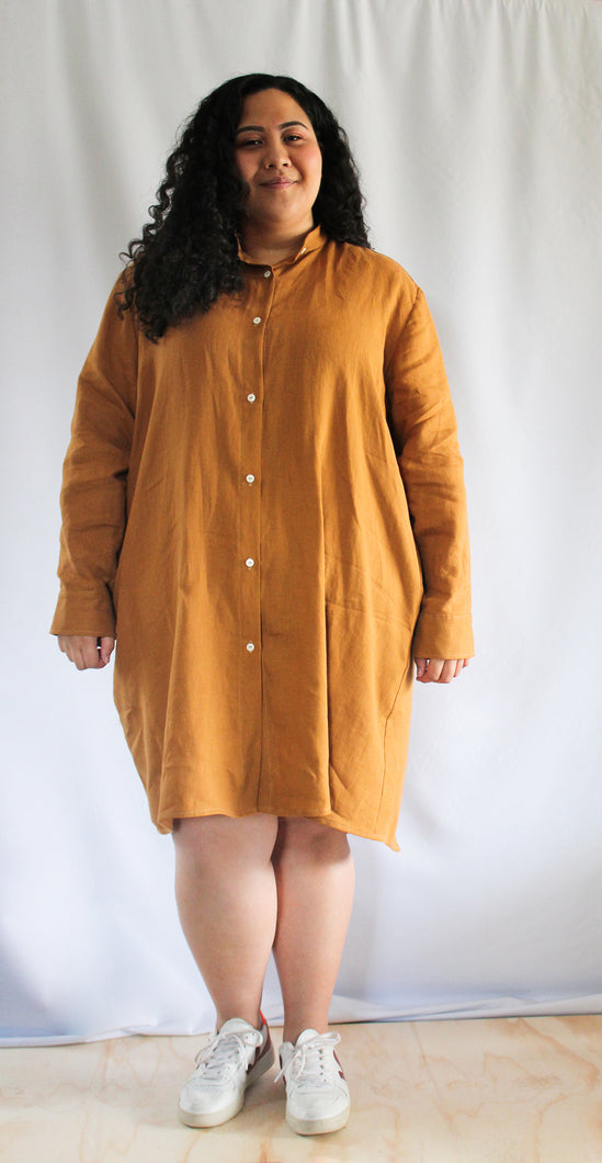 Shirt Dress - knee length, collarless