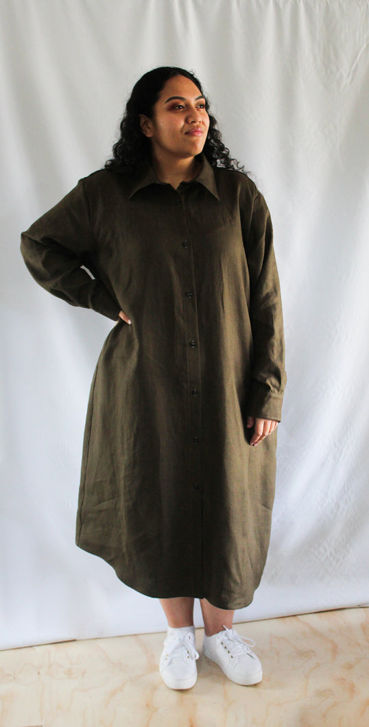 Shirt Dress - midi length, collared