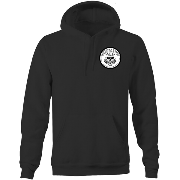 Killers and Kings tattoo balm front and rear inverted  logo - AS Colour - Pocket Hoodie