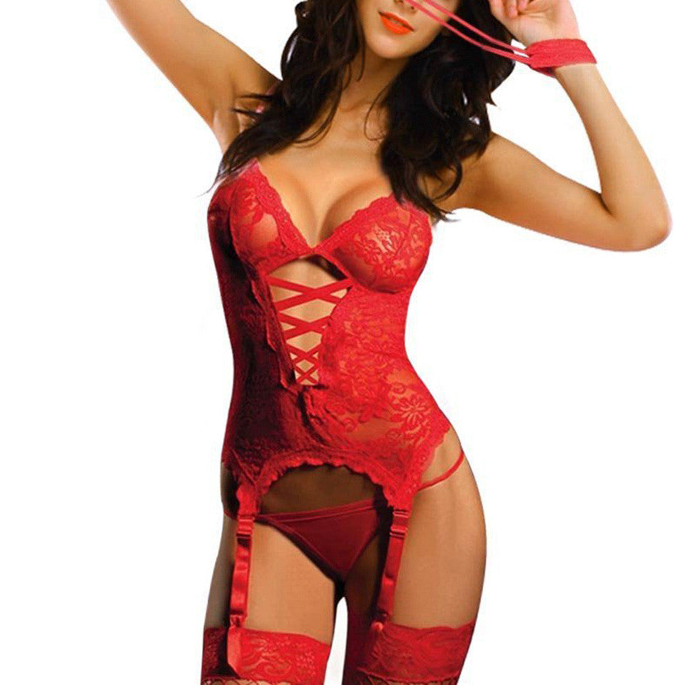 Striking Lace Up Lingerie Cami with Garters