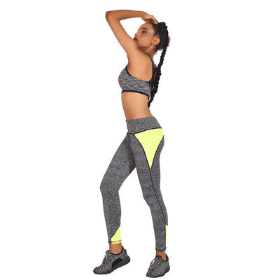 High-Waisted Gray Workout Leggings with Color Pop