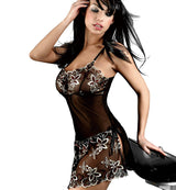 So Sensuous Black Mesh Lingerie Chemise with Artful Detail