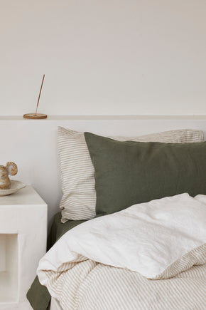 duvet set · flax stripe & cumulus · queen|king